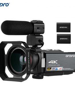 ORDRO HDV-AE8 4K 30MP 16X WiFi Digital Video Camera 3Inch IPS Touchscreen Camcorder 0.39X Wide Angle Lens External Mic+Len Hood