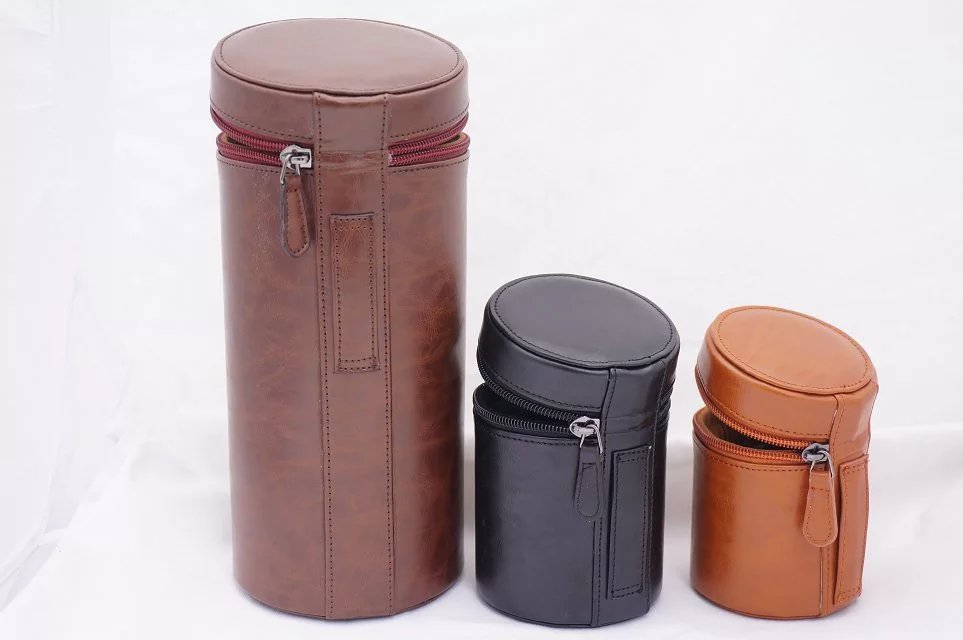 Protective Camera Lens Case Bag Cover for Canon for DSLR Universal Camera Lenses PU Leather Pouch