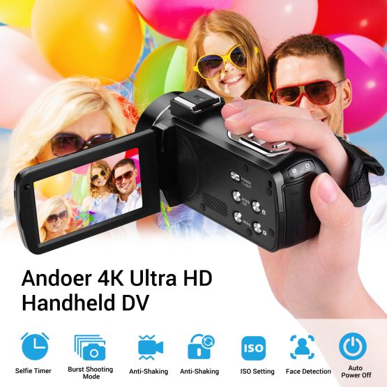 Ultra HD Handheld DV Professional Digital Video Camera CMOS Sensor Andoer 4K Ultra HD Handheld DV Professional Digital Video Camera CMOS Sensor Camcorder with Hot Shoe for Mounting Microphone