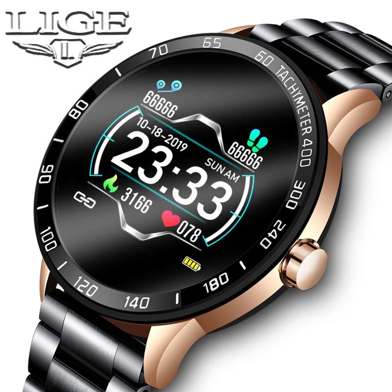 LIGE 2020 New Smart Watch Men Waterproof Sport Heart Rate Blood Pressure Fitness Tracker Smartwatch Pedometer reloj inteligente
