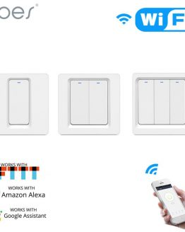 WiFi Smart Home Light Switch Push Button Smart Life/Tuya APP Remote Control Works with Alexa Google Home for Voice Control