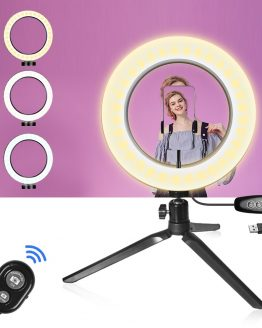 26CM Photography Lighting Phone Ringlight Tripod Stand Photo Led Selfie Ring Light Lamp Bluetooth remote For TikTok Youtube Live