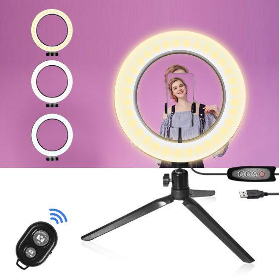 26CM Photography Lighting Phone Ringlight Tripod Stand Photo Led Selfie Ring Light Lamp Bluetooth remote For TikTok Youtube Live