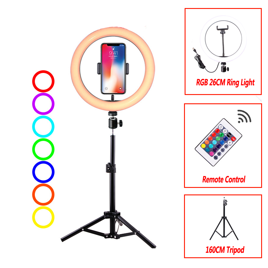 10'' Selfie RGB Colorful Ring Lamp With Stand Remote Control Ring Light Tripod Photography LED Lighting For Youtube TikTok YE006