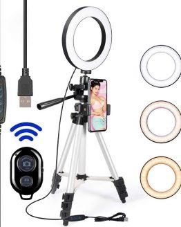 Led Selfie Ring 16CM Light Phone Tripod Holder Bluetooth Remote Lamp Photo Ringlight Photography Lighting TikTok Youtube Live