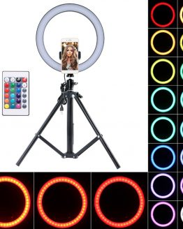 """10"""" Selfie Ring Light with Remote Control 16-Color Camera Ring Light with Phone Holder and Tripod for Live Stream TikTok"""