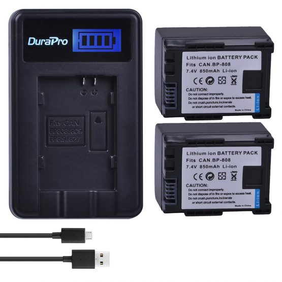 2PC BP-808 BP 808 BP808 Camera Rechargeable Batterie + LCD USB charger for Canon BP 827 809 819 HFS30 HFM41 HFM400 FS300 FS1