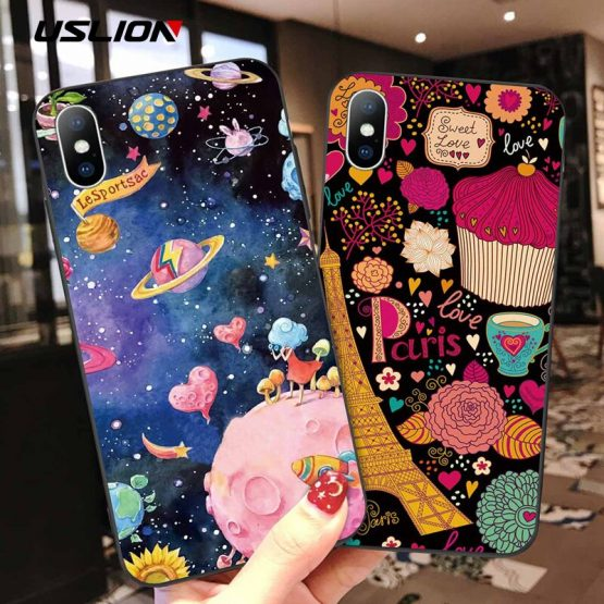 USLION 3D Cartoon Relief Case for iPhone 11 Pro Max XR Xs Max Soft Silicone Phone Cases for iPhone 6 6S 8 7 Plus 5 5s SE Cover