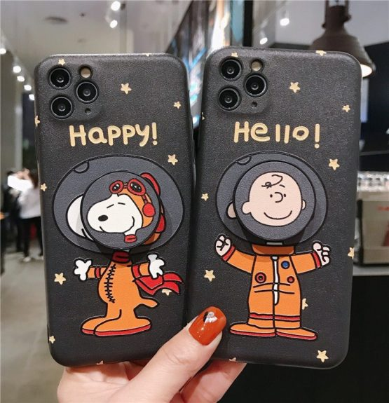 Cute Peanuts Charlie dog Bracket Phone Case For iPhone 11 Pro Max 11 XR X XS Max 7 8 Plus Case Silk pattern Silicon BackCover