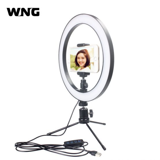 26cm 10 inch Dimmable LED Ring Light Video Light with Clip Selfie Stick Tabletop Tripod for Youtube Photo Shooting Live TikTok