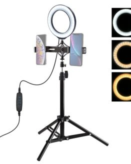 "LED Selfie Ring Light Dimmable 6.2"" LED Ring Lamp with 70cm Tripod Light Stand Dual Phone Clip for TikTok Youtube Live Streaming"
