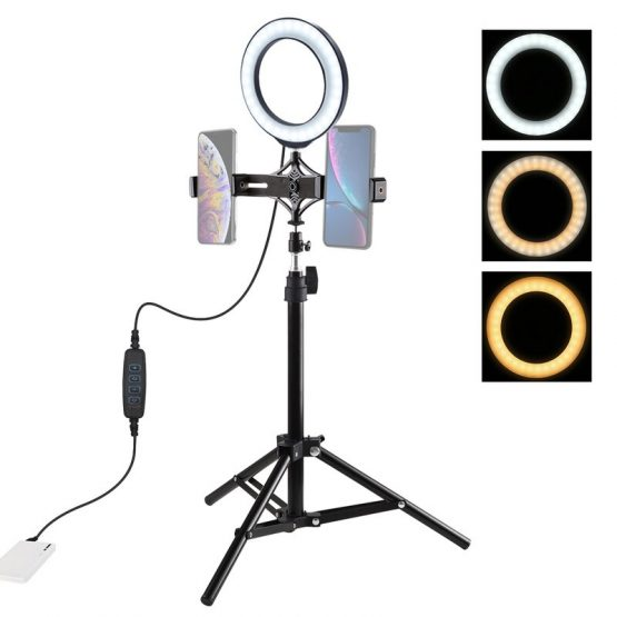 """LED Selfie Ring Light Dimmable 6.2"""" LED Ring Lamp with 70cm Tripod Light Stand Dual Phone Clip for TikTok Youtube Live Streaming"""