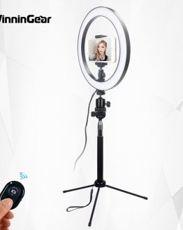 26cm 10inch Dimmable LED Ring Light Selfie Ring Lamp with Phone Clip Selfie Stick Tripod for YouTube Photo Shooting Live TikTok