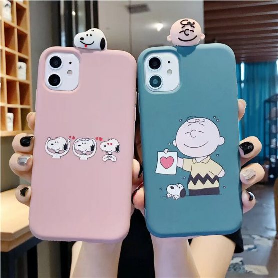 Cute 3D Charlie Brown dog phone Case for iPhone X XR XS Max 11 6 6s 7 8 plus 11pro case Love heart soft silicone back cover capa