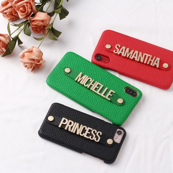 Holding Strap Metal Personalization Your Name Pebble Grain Leather Phone Case For iPhone 11 Pro 6S XS Max XR 7 7Plus 8 8Plus X