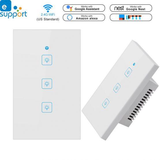 Timethinker Ewelink Smart Home Light Switch Panel Wall Interruptor US 1/2/3 Gang Wifi Light Switches Work with Alexa Google Home