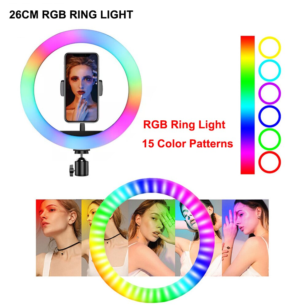 10inch 26cm RGB LED Ring Light With Tripod Stand Phone Clip Colorful Photography Lighting for TikTok Vlogging Video YouTube Live