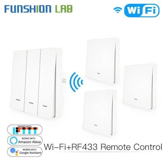 WiFi Smart Wall Light Switch RF433 Push Button Transmitter Kit Smart life Tuya Remote Control Works with Alexa Google Home
