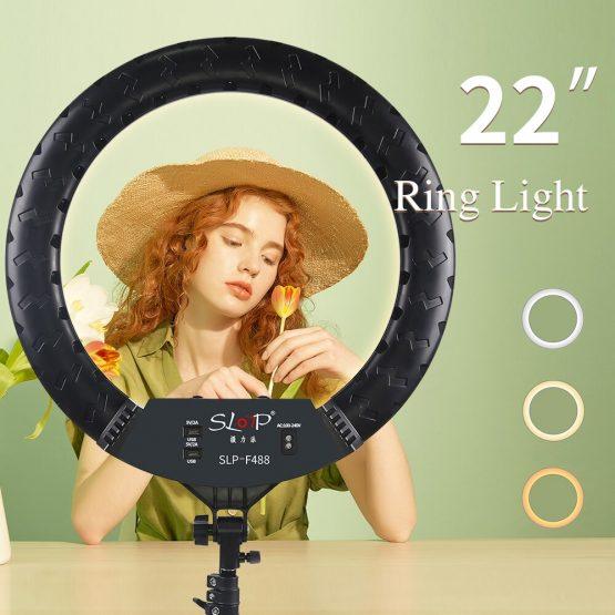 SLOTP 22 inch Ring Light Kit with 2M Tripod,tiktok 55 Dimmable Ring Light Selfie Photography Lighting (SLP-F488)