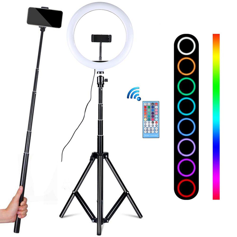 Professional 10 Inch RGB Selfie Ring Light with Tripod LED Ring Lamp Photo Studio Ringlight for Tiktok Youtube Video Lights