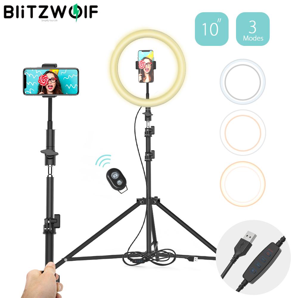 BlitzWolf Tripod Mobile Phone Holder 126 LED 10' Ring Fill Light Selfie Stick Monopod Photography for TikTok Youtube Live Stream