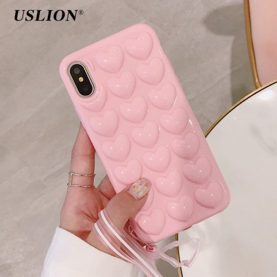USLION 3D Love Heart Phone Case For iPhone 11 Pro X XS Max XR Cartoon Cases For iPhone 7 8 6 6S Plus Soft TPU Cover With Lanyard