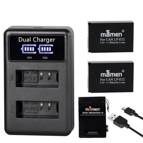 Mamen 1900MAh Rechargeable LP-E12 LPE12 LP E12 Digital Camera Battery + LCD USB Charger for Canon 100D Kiss X7 Rebel SL1 M10 M50