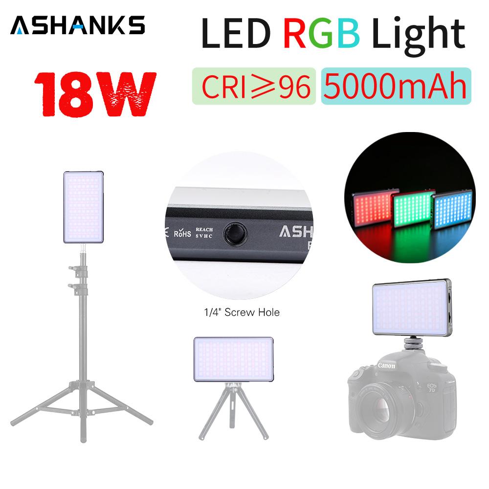 ASHANKS RGB LED Video Light R18 Dimmer Panel Fill Light Photography Mini Studio Lamp for Tiktok Youtube Camera Tripod Stand