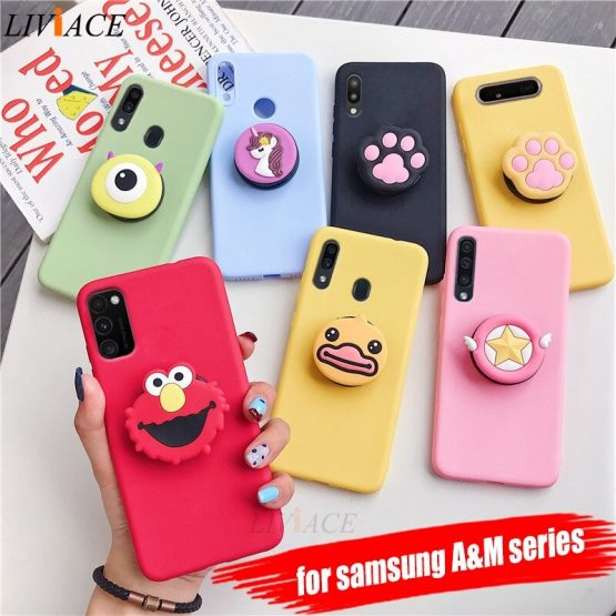 3D silicone cartoon phone holder case for samsung galaxy m30s m40 m30 m20 m10 a30s a50s a20s a10s a20e a10e cute stand cover