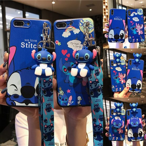 Cartoon Stitch Couples phone case For Samsung Galaxy Note 10 plus S20 S7 edge S8 S9 S10 Plus A50 A70 A10S A20 A30S Lanyard cover