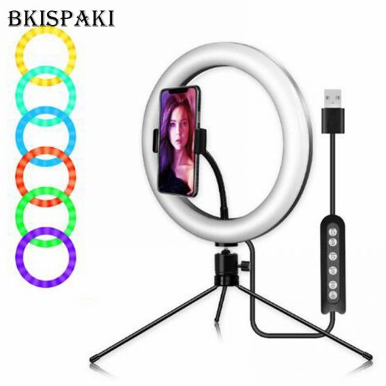 10 inch 26cm RGB LED Selfie Ring Light Video Vlogging Tripod Stand Live Tiktok Broadcast Kits Phone Clamp Dimmable Makeup Lamp