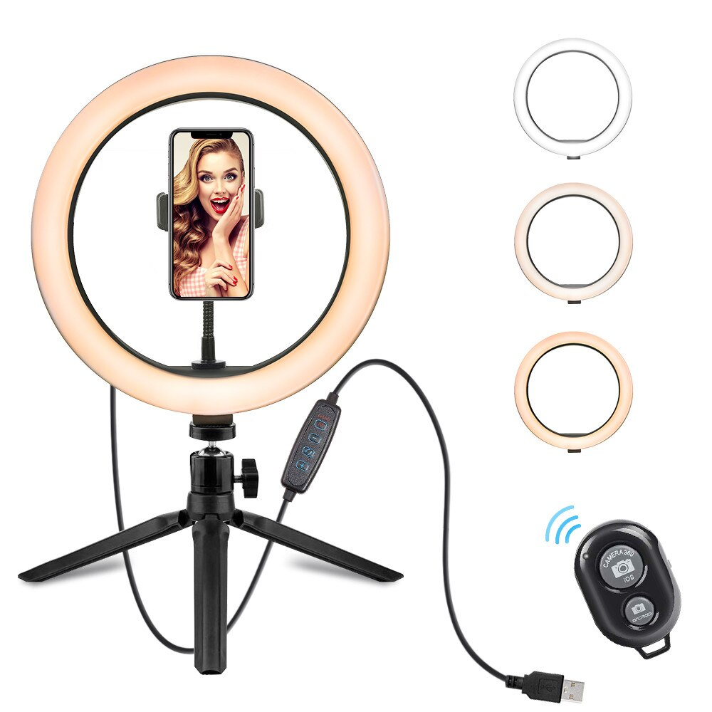 10 Inch LED Ring Light Tripod Stand Dimmable Desktop Selfie Light for Tiktok YouTube Video Living Stream Photography Accessories