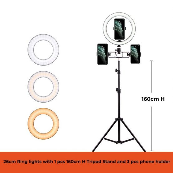 26cm live Ring light 10 inch tiktok light Anchor selfie beauty photography led light Video Makeup Lamp With Tripod Phone Clip