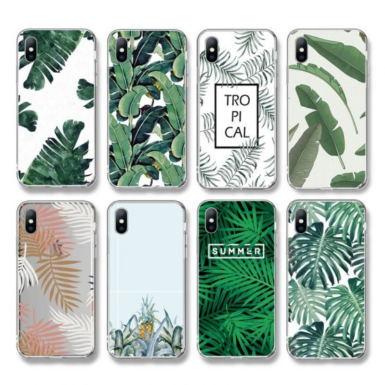 Ottwn Summer Banana Leaf Phone Case For iPhone 11 X 7 8 6 6S Plus XS XR XS Max 5 5s SE Retro Leaves Soft TPU Silicone Back Cover