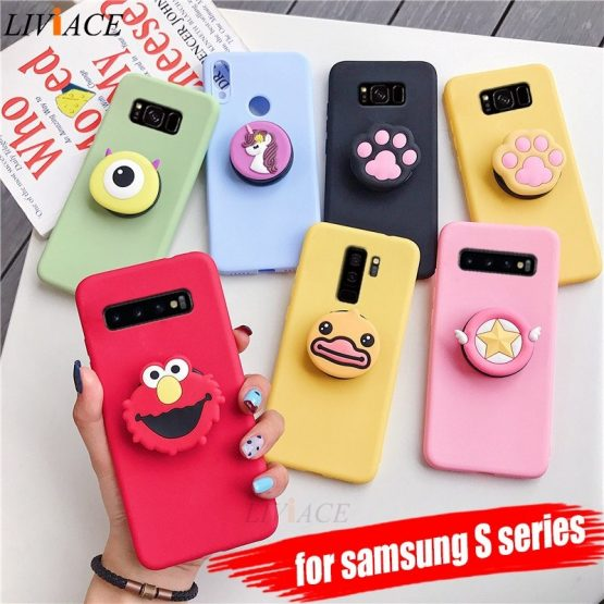 3D silicone cartoon phone holder case for samsung galaxy s10 5g s10e s9 s8 plus s7 s6 edge cute stand soft back cover coque