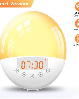 WiFi Smart Alarm Clock for Amazon Alex Google Assistant Digital Snooze Night Light Wake-up Voice Control Alarm Clock Smart Home