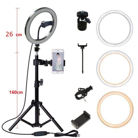 160CM Tripod Stand Photography Lighting Camera Photo Studio Circle Led Selfie 26cm Ring Light Phone Lamp Video TikTok Youtube