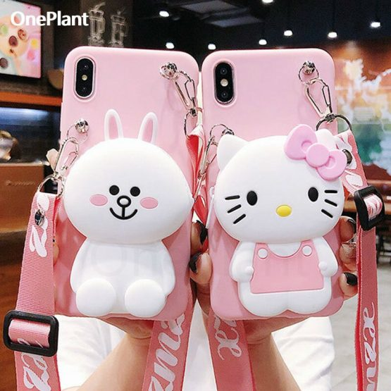Cute Cartoon 3D Silicone Storage bag Phone Case For iPhone 11 Pro X XR Xs Max 6s 7 8 Plus Rubber Cover For Samsung S9 S10 Note10