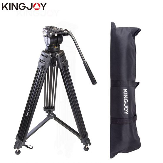Kingjoy VT-2500 Professional Light Weight Aluminum Camera Tripod Stand Holder Stable Fluid Damping Tripod Kit For All Models