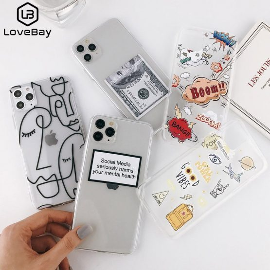 Lovebay Abstract Clear Cartoon Phone Case For iPhone SE 2020 11 Pro Max X XR Xs Max 6 6S 7 8 Plus Soft TPU Cover For iPhone 11