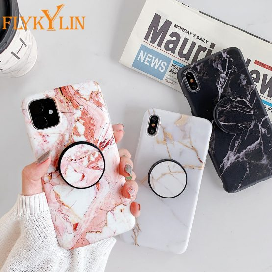 FLYKYLIN Holder Stand Marble Case For iPhone 11 Pro Max SE 2 Back Cover For Huawei P30 Pro P20 Lite Skin IMD Silicon Phone Coque