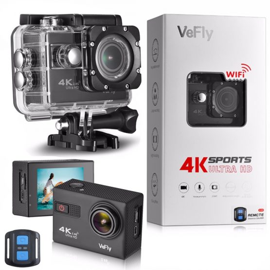 VeFly 4K Ultra HD sport action camera, the waterproof Wi-Fi go pro cam with Anti-Shake electronic GYRO wifi car video kamera