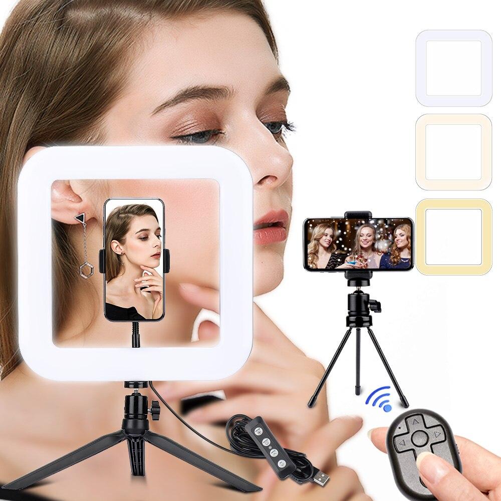 LED Square Light 11 Inch Camera Ringlight Tripod Stand Phone Holder For YouTube Tiktok Photography Video Photo Studio Lamp Kit