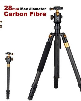 "QZSD Q1088C 65"" Carbon Fiber Professional DSLR Camera Tripod Compact Portable Travel Tripod Monopod Ball Head Stand"