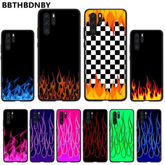 Luxury colorful flame Soft Silicone Black Phone Case For Huawei Honor 7C 7A 8X 8A 9 10 10i Lite 20 NOVA 3i 3e