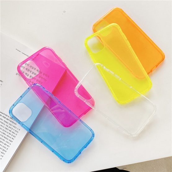 Neon Fluorescent Color Phone Case For iPhone 11 Pro Max XR X XS Max 7 8 Plus Back Cover Luxury Transparent Soft TPU Cases