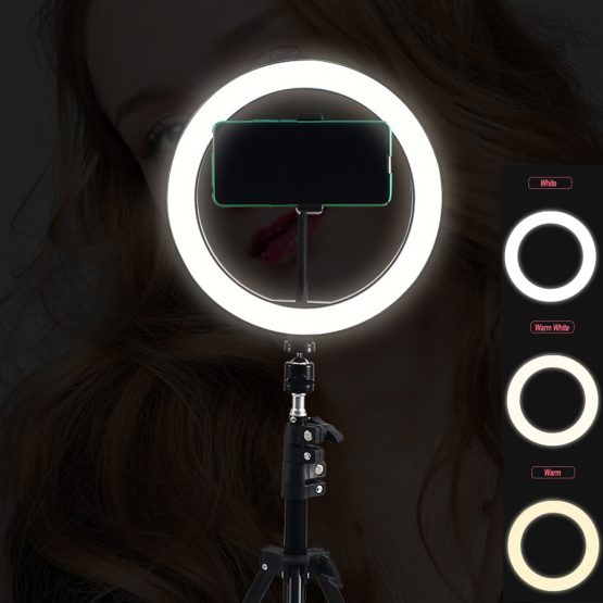 Selfie Dark Wood Color Ring Lamp With 210CM Stand Ring Light Tripod Dimmable Photography LED Lighting For Youtube TikTok NE007