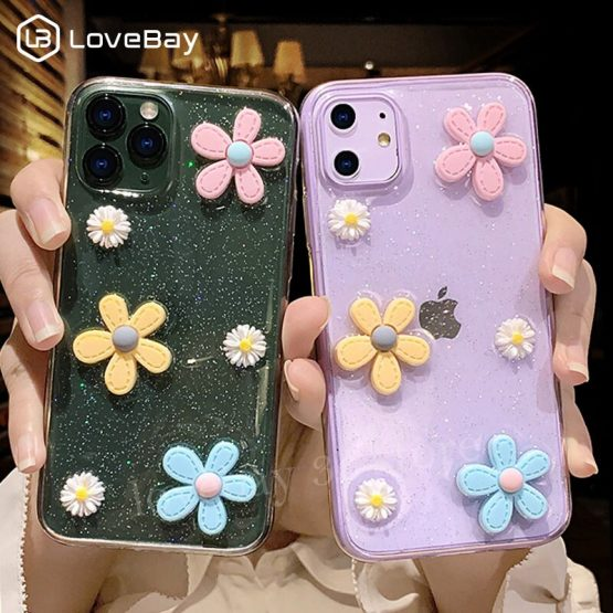 Lovebay 3D Flowers Glitter Phone Case For iPhone 11 Pro SE 2020 7 8 6 6s Plus X XR XS Max Transparent Bling Soft TPU Back Cover