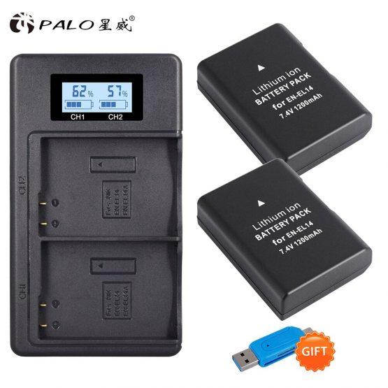 2pcs EN-EL14 EN-EL14a ENEL14 EL14 1200mAh Battery+LCD USB Dual Charger for Nikon D3100 D3200 D3300 D5100 D5200 D5300 P7000