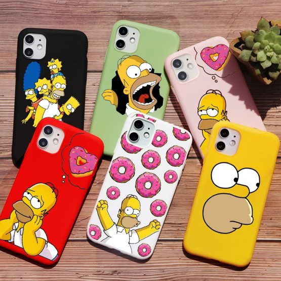 Homer J Simpson funny Bart Simpson Coque Cartoon Phone Case For iPhone 11 PRO MAX 6s 8 7 Plus SE 2020 XR X XS Max TPU Red case